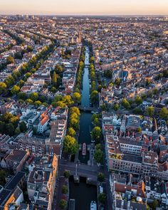 Amsterdam is one of my favorite cities. The people, the canals, the architecture, the food and the vibe, all make this city amazing. City From Above, Urban City, Amsterdam Netherlands, City Maps, City Streets, Beautiful Landscapes, Paris Skyline, City Photo, The Neighbourhood