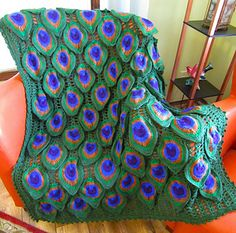 Birds of a Feather Peacock Afghan pattern by Roxanna June