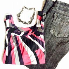 American Rag Tops - Black & Pink Abstract Print Top