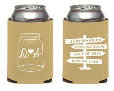 Mason Jar Wedding Koozie Personalized Wedding by SipHipHooray