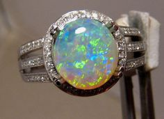 Green & Gold Crystal Opal & Diamond Ring 14k White Gold