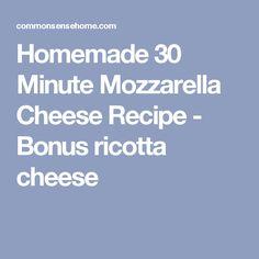 Homemade 30 Minute Mozzarella Cheese Recipe - Bonus ricotta cheese