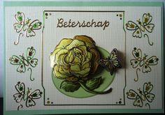 Beterschap, roos met vlinders van dots