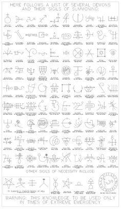 sigils---these should be studied very carefully of what NOT to call up.