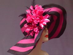 Fuschia and Black Derby Hat Kentucky Derby Hat by crowninglorihats