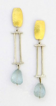 """Silver Highline Earrings with Aquamarine Beads""  Gold, Silver & Stone Earrings  Created by Sydney Lynch - Sterling silver and 22k gold with aquamarine beads.  $290"