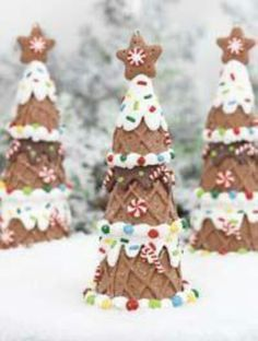 Gingerbread trees made with ice creams cones!