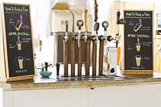 Bride's brother brewed speciality beer for the wedding day - love the DIY signs on how to properly pour a beer
