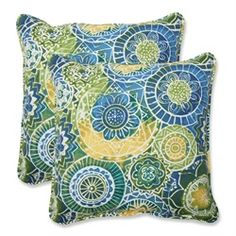 Pillows feature a geometric mosaic print, evoking images of an underwater landscape Provides exceptional comfort and modern style Sewn seam closure  Ma 31351015