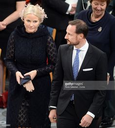 Crown Princess Mette Marit and Crown Prince Haakon of Norway attend the Nobel Peace Prize ceremony at Oslo City Town Hall on December 10, 2016 in Oslo, Norway. (Photo by Rune Hellestad - Corbis/Corbis via Getty Images)