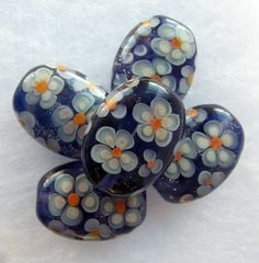 Lampwork Floral Bead Set   Handmade Purple Glass by JudithBeads, £27.00
