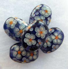 Lampwork Floral Bead Set   Handmade Purple Glass by JudithBeads, £27.00