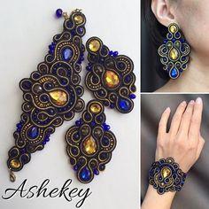 Soutache Bracelet, Soutache Jewelry, Bracelet Set, Boho Jewelry, Jewelery, Handmade Jewelry, Tassel Earrings, Beaded Necklace, Beaded Embroidery