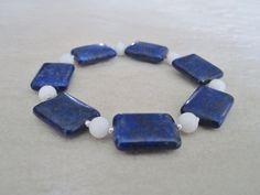 Blue Lapis Lazuli Flat Oblong Beads, Snow White Agate & Sterling Silver Bracelet - £16.00 #craftfest