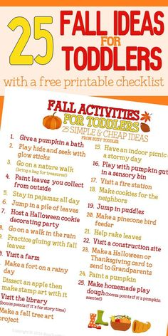 Check out this awesome fall bucket list for toddlers! 25 great activities for toddlers during the fall.