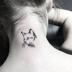 Cute Cat Tattoo by Jesica Perez Noir