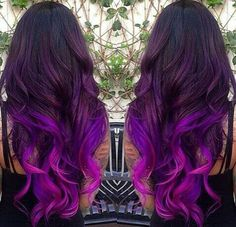 Amazing Purple Ombre Hair Ideas a few years ago, if you thought purple hair … - Hair Women Beauty 2015 Hair Color Trends, Hair Trends, Ombre Hair Color, Purple Ombre, Black Ombre, Bright Purple, Dark Purple, Ombre Style, Color Black