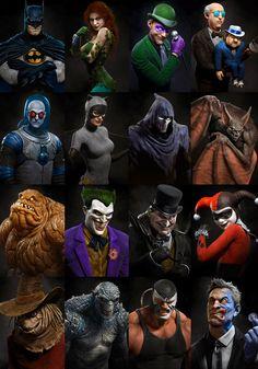 Batman: The Animated Series by Raf Grassetti Batman Painting, Batman Artwork, Batman Wallpaper, Gotham Villains, Comic Villains, Dc Comics Characters, Batman Tattoo, Personnage Dc Comics, Batman Kunst