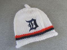 DETROIT TIGERS Hand Knit Baby Hat - Detroit Tigers Baby Hat - Michigan Hand Knitted Baby Hat by UpNorthKnitsAndGifts on Etsy https://www.etsy.com/listing/184424326/detroit-tigers-hand-knit-baby-hat