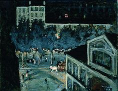 Paris Boulevard at Night   Pierre Bonnard   Painting Reproduction 4442 at TOPofART.com