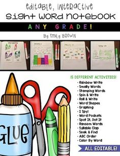 Looking for an interactive sight word notebook that is completely editable?  I've got you covered! This editable sight word notebook is perfect for small groups, centers, or independent practice. With 15 different activities to choose from, your kiddos won't get bored doing the same repetitive activities week after week!