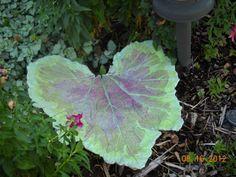 Pastel concrete squash leaf by LindasYardArt on Etsy, $35.00