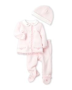 Little Me (Newborn/Infant Girls) 3-Piece Quilted Shirt & Footed Pants Set