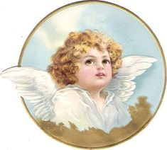 Oblaten Glanzbild scrap die cut chromo Engel angel  12,5 cm  Medaillon  gold