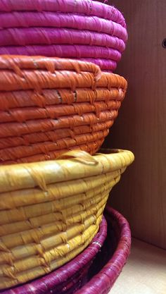 Brightly coloured baskets for storage or displays