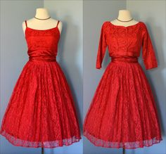Vintage 1960s Party DressLovely Crimson Red Lace Party by deomas, $225.00
