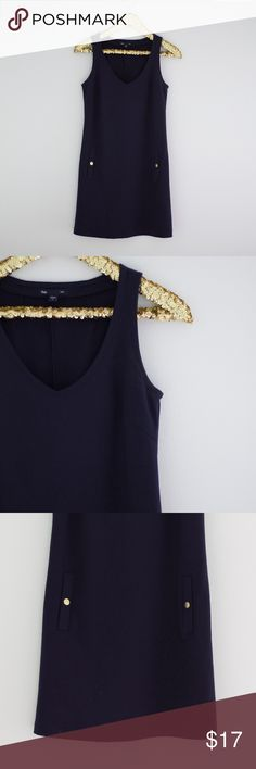 """Gap Preppy Navy Nautical Sheath Dress Gap Preppy Nautical Sheath Dress   Get your preppy on with this touch of nautical navy blue sheath dress. Super flattering style with faux pockets with gold """"buttons"""" Styling Tip: Wear it with a fun wedge for a great summer look! GAP Dresses"""
