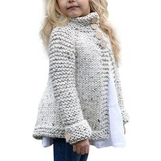 Toddler Baby Girls Autumn Winter Clothes Button Knitted Sweater Cardigan Cloak Warm Thick Coat Years beige *** You can find out more details at the link of the image. (This is an affiliate link) Baby Pullover, Baby Cardigan, Sweater Cardigan, Toddler Cardigan, Girls Poncho, Chunky Cardigan, Open Cardigan, Baby Knitting Patterns, Knitting For Kids