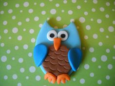 Blue Owl Cake and Cupcake Toppers Set of 12 by SugarArtByTami, $12.95