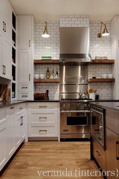 SallyL: Veranda Interiors - Cool, contemporary kitchen design with crisp white cabinetry and . - A Interior Design Kitchen Interior, New Kitchen, Kitchen Dining, Kitchen Decor, Kitchen Cabinets, Kitchen Wood, Kitchen Ideas, Design Kitchen, Black Countertops White Cabinets