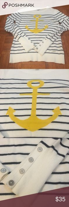 "Nautica White & Blue Anchor Sweater 🛥 This is a long sleeve blue and white sweater. It has an anchor design in yellow on the front. Sleeves are adorned with buttons. Small Nautica emblem on the front.  Approx Measurements: Pit to Pit: 16"" Waist: 14"" Length: 22"" Sleeve: 22"" Nautica Sweaters"