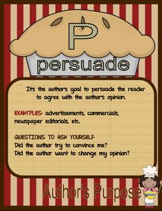 FREE Easy as Pie...Author's Purpose - Go to http://pinterest.com/TheBestofTPT/ for this and thousands of free lessons.