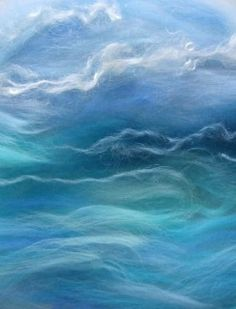 Annie (rosiepink) made this sea/sky image with dry wool fibres. Un-felted fibre pictures can be photographed then the images printed to make wall art. Or the fibres can be trapped under glass then framed. Nuno Felting, Needle Felting, Felt Wall Hanging, Sky Images, Felt Pictures, Wool Art, Landscape Quilts, Landscape Pictures, Felt Art
