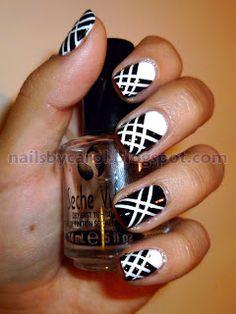 Black and white criss cross stripes nail art