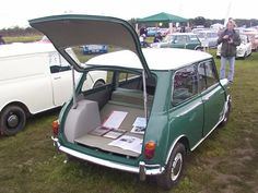 KMG 840B Mini hatchback. Believed to be the one built for Ernest Marples, then Minister for Transport Note: one piece folding rear seat, single fuel tank, numberplate mounted on hatch