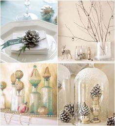 pine cone, pastel weddings, winter wonderland, wedding places, wedding place cards, old jars, winter centerpieces, winter weddings, wedding centerpieces