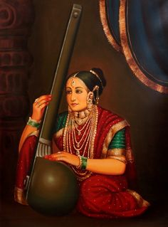 Rich Lady Playing a Tanapura, Oils Oil Painting on CanvasArtist: Anup Gomay Ravivarma Paintings, Indian Art Paintings, Indian Artwork, Woman Painting, Oil Painting On Canvas, Indian Traditional Paintings, Rajasthani Painting, Indian Women Painting, Tanjore Painting