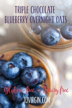 This quick, convenient overnight oats recipe has plenty of energizing protein and filling fiber, plus the delicious flavor of chocolate and blueberries. Get this gluten free, dairy free healthy breakfast recipe now