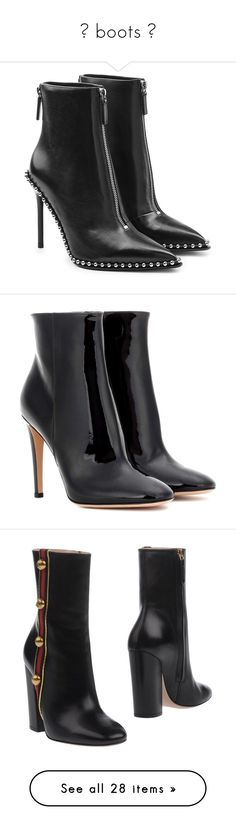 """═ boots ღ"" by alexisainsworth ❤ liked on Polyvore featuring shoes, boots, ankle booties, black, black leather booties, studded ankle boots, black ankle boots, short black boots, black leather ankle booties and ankle boots"
