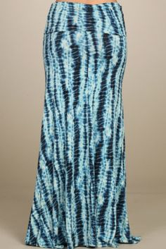 Aqua and navy tie die maxi skirt features a fold over waist for an easy to wear fit. This maxi is super comfortable and pairs perfectly with our perfect fit tanks. - Rayon/Spandex blend. - Fit is true