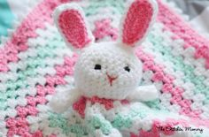 Crochet Bunny Lovey - Free Pattern by The Stitchin' Mommy www.thestitchinmommy.com #crochet #bunny #Easter #lovey #baby #blanket