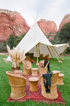 We love rattan furniture! Mix it with a boho rug + a cute teepee canopy and boom! Plays for a super neat hang about! Its a great look!