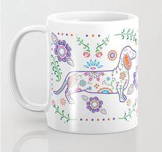 Sugar Skull Color Dachshund Mug  Dachshund by mydogismycopilot