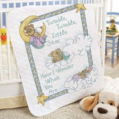 Herrschners Pre-Quilted Sleepy Bears Baby Quilt Top Stamped Cross-Stitch