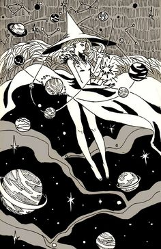 Space Witch, an art print by Juliette Cousin Space Illustration, Illustrations, Digital Illustration, Witch Aesthetic, Aesthetic Art, Amazing Drawings, Art Drawings, Under Your Spell, Alien Art