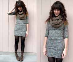 Forever 21 Knitted Scarf, Free People My New Favorite Dress :), Vintage Boots